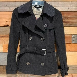 Burberry Brit Dark Grey Short Wool Pea Coat Sz 2